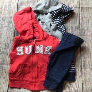 Carters - Baby Boy 4 pc set 3 zip hoodies + pant